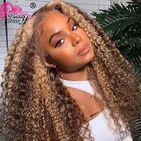 Schönheit Für Immer Highlight Spitze Front Menschliches Haar Perücken 13*4 Malaysische Lockige Honig Blonde Highlight Perücke Pre Gezupft Mit baby Haar