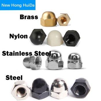 цена на 304 Stainless Steel Black Steel Nylon Black White Acorn Nut Hex Head Cap Metric Nut Cover Acorn Dome Nut M3 M4 M5 M6 M8 M10 M12