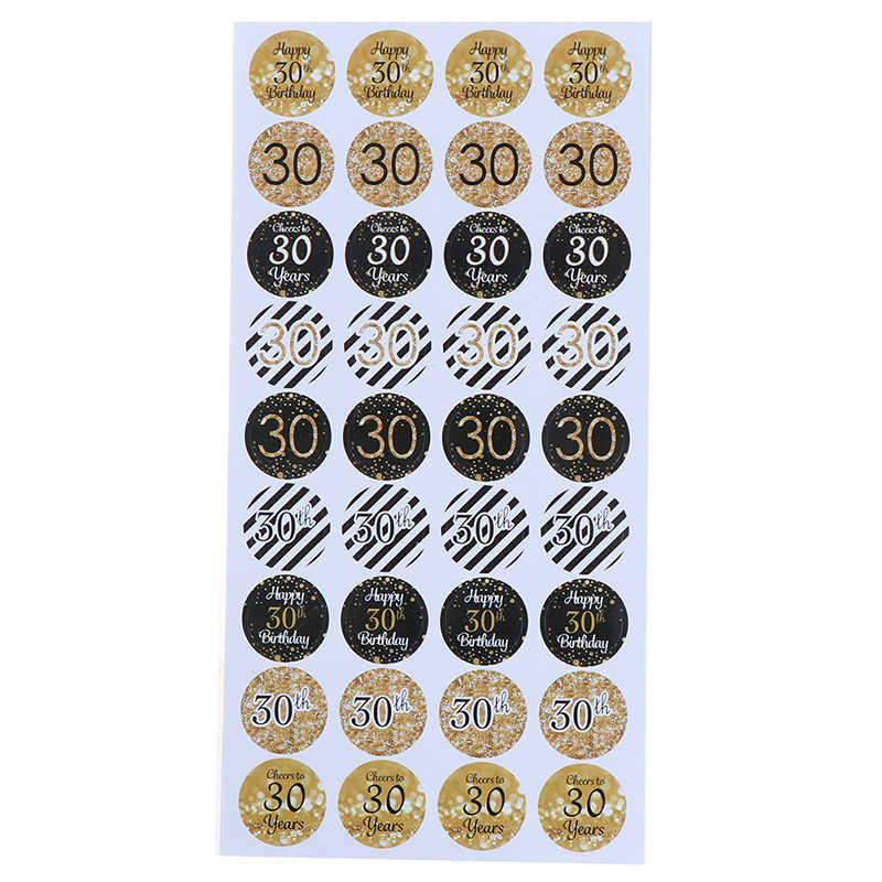 216pcs 30/40/50th Happy Birthday Paper Seal Sticker 30 year old Event Party Gift Stickers Anniversary Party Decor