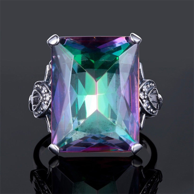 Rainbow Multi Color Topaz Cube Ring Women's Creative Personality 925 Sterling Silver Inlaid Rainbow Gemstone Ring Gift Jewelry