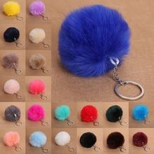 2020 Faux Fur Pom Pom Ball Car Key Chain Ring Keyring Pink Black Women's Bag Accessories Pendant Decoration