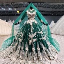 Темно зеленые арабские женские свадебные платья 2021 яркие элегантные свадебные платья с высоким воротом на шнуровке с фатлой
