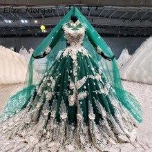 Dunkelgrün Arabisch Muslimischen Long Sleeves Brautkleider 2021 für Frauen Bunte Elegante High Neck Lace up Brautkleider mit schleier