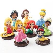 8Pcs/Set Q Posket Princesses Figure Toys Dolls Tiana Snow White Rapunzel Ariel Cinderella Belle Mermaid PVC Action Model Gifts 2019 11cm q posket princess figure toys mulan princess action figure model collection pvc toys b862