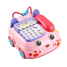 Over 3 Years Old Kids Cartoon Car Phone Sound Light Whack A Hamster Game Toy