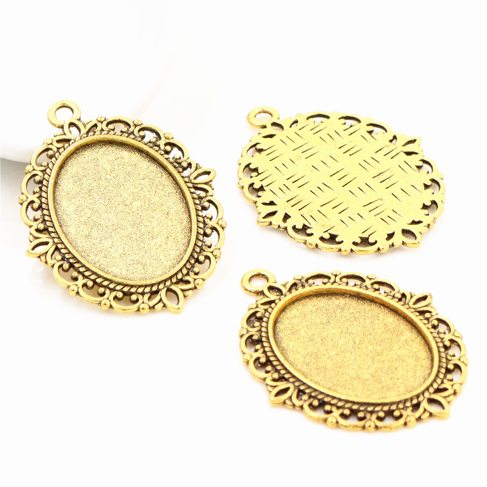 10pcs 18x25mm Inner Size Antique Gold Color Classic Style Cameo Cabochon Base Setting Charms Pendant Necklace Findings  (C1-16)