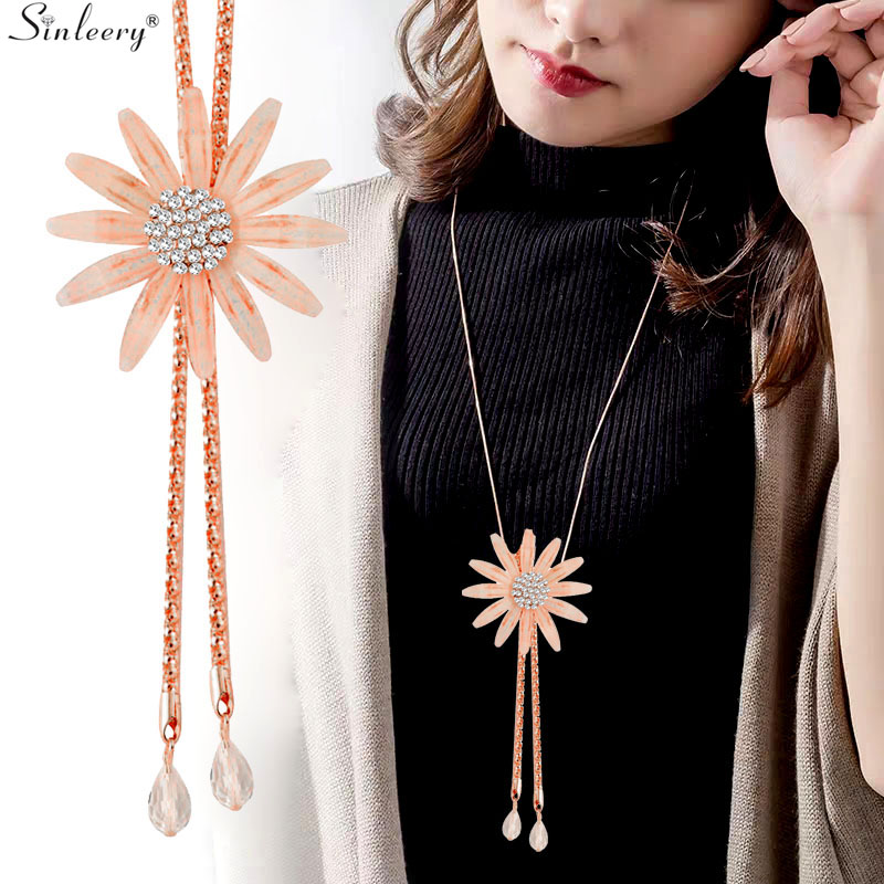 SINLEERY Seksi veliki cvjetni dvostruki privjesak žene duge ogrlice Boho Izjava Nakit od pribora MY266