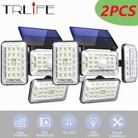 2pack 242 luci solari a LED sensore di movimento esterno a 4 teste 300 illuminazione grandangolare potente lampada da parete con telecomando impermeabile