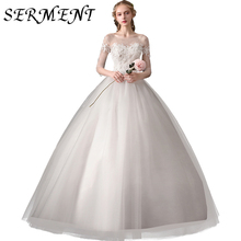 Wedding Dress 2019 New Bride Word Shoulders Luxury Forest Starry Simple Slimming  Short
