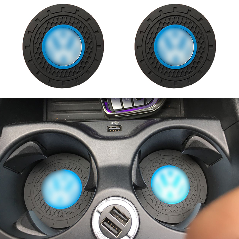 Hot 2pcs 7CM Silicone pad Car non-slip water coaster Mat For volkswagen polo <font><b>golf</b></font> 3 <font><b>4</b></font> 5 6 7 b4 b5 b6 b7 b8 Car Accessories image