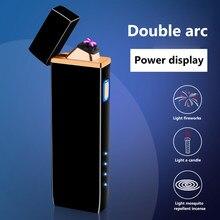 Briquet électrique USB Rechargeable Double face allumage grand briquet pour bougie/cuisinière à gaz/Camping pour bougie à cigarettes avec LED