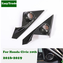 Carbon Fiber Pillar A Audio Speaker Tweeter Frame Covers Trim For Honda Civic 2019 2018 2017 2016 10th Accessories Car Styling decoration circle trims for 10th gen honda civic a pillar car door audio speaker rings trims for honda civic 2016 2017 2019 2019