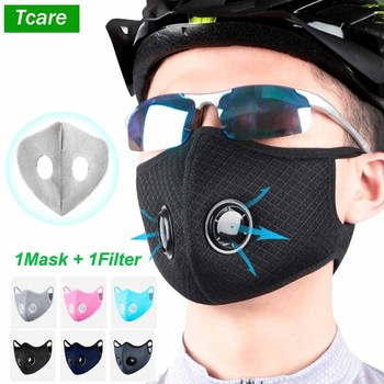 Tcare PM2.5 Dust Mask Windproof Mask Double Valve With Replaceable Filter Cycling Sport Bicycle Bike Sport Face Mask