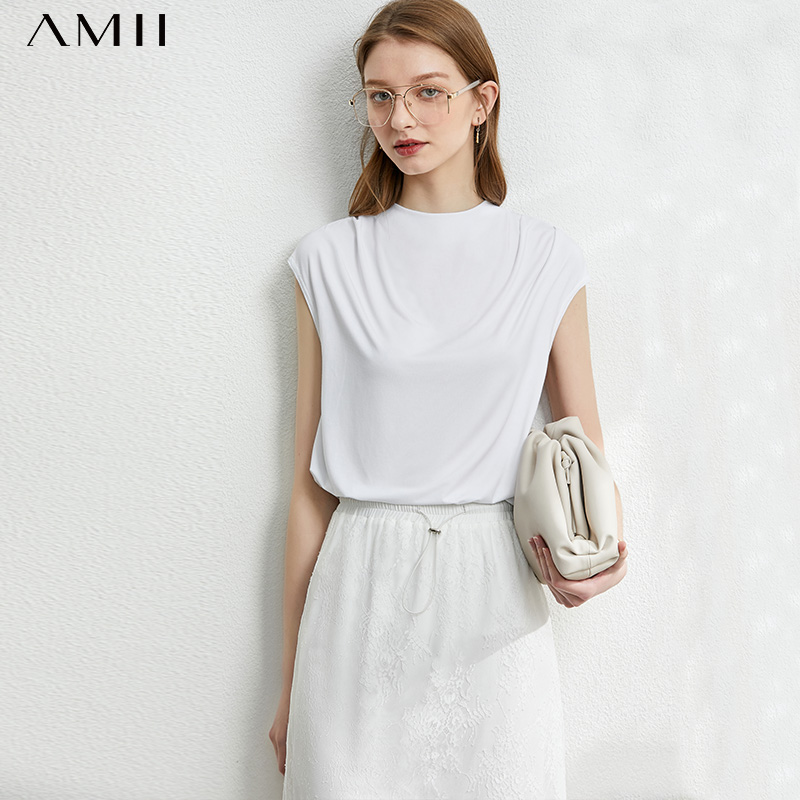 AMII Minimalism Spring Summer Solid Pleated Women Blouse Causal Oneck Sleeveless Loose Female Blouse Tops 12077467