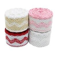 Cinta de red de encaje bordado de algodón, tejido de costura artesanal, materiales artesanales, color 60mm, 5 metros por rollo