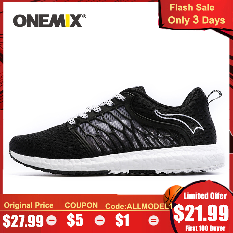 ONEMIX Uni Running Shoes Breathable Mesh Men Athletic Shoes Super Light Outdoor Women Sports Shoes Male Walking Jogging Shoes