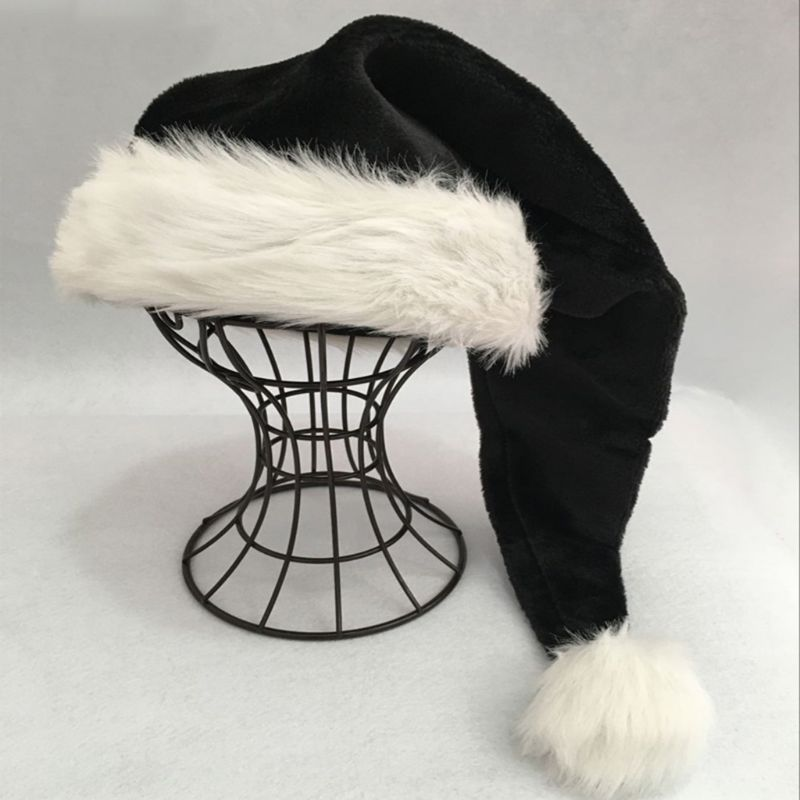 75cm Adult Black Plush Long Christmas Hat Xmas Costume Pompom Santa Claus Cap