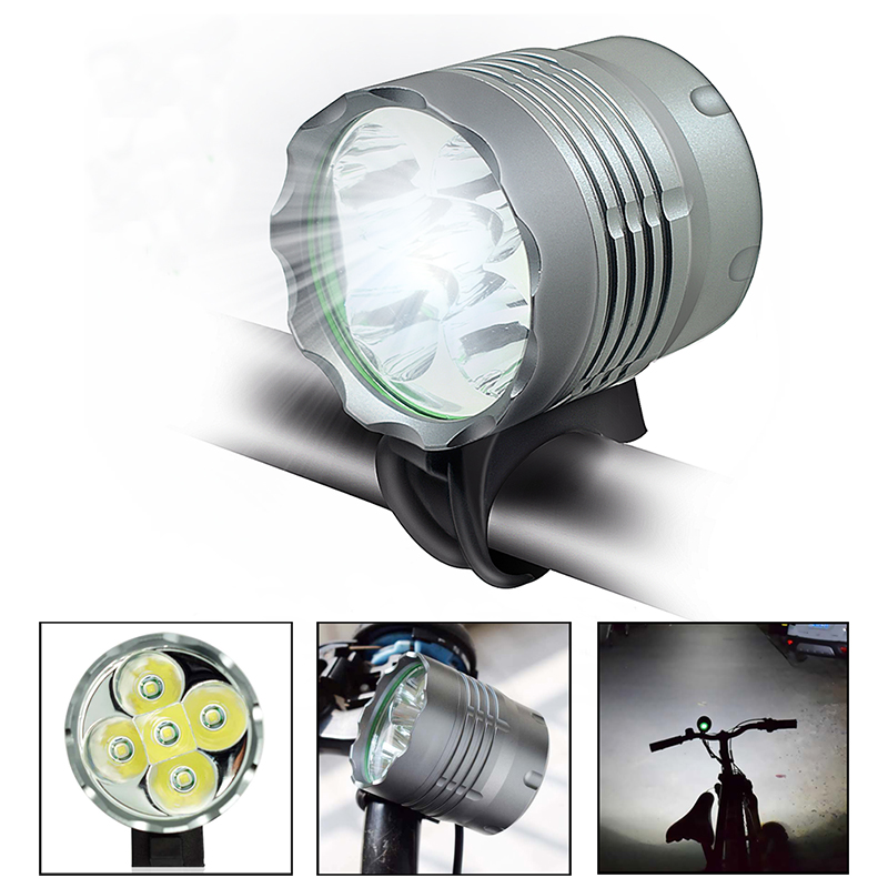WasaFire 5*T6 LED Headlight <font><b>Bicycle</b></font> Front <font><b>Light</b></font> Lantern <font><b>7000</b></font> <font><b>Lumen</b></font> 3 Modes Bike Head Lamp + 8.4V 18650 Battery Pack + Charger image