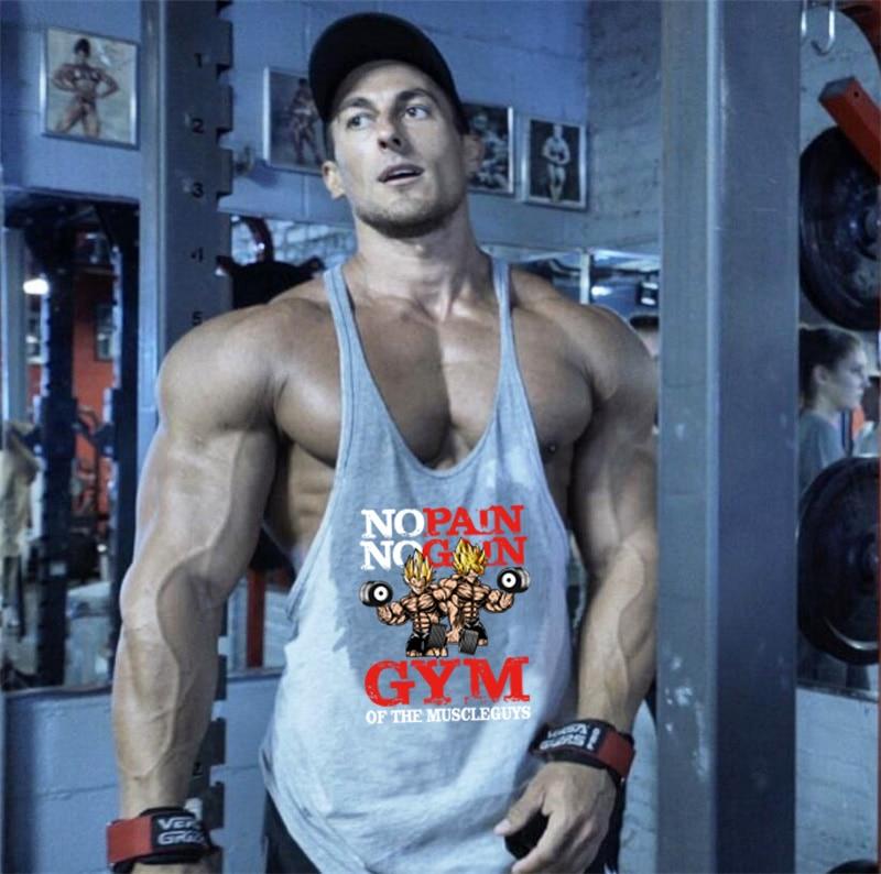 Brand Fashion Workout Sleeveless Tank Tops Men Print Cotton Gyms Vest Bodybuilding Undershirt Men Tops Fitness Shirt