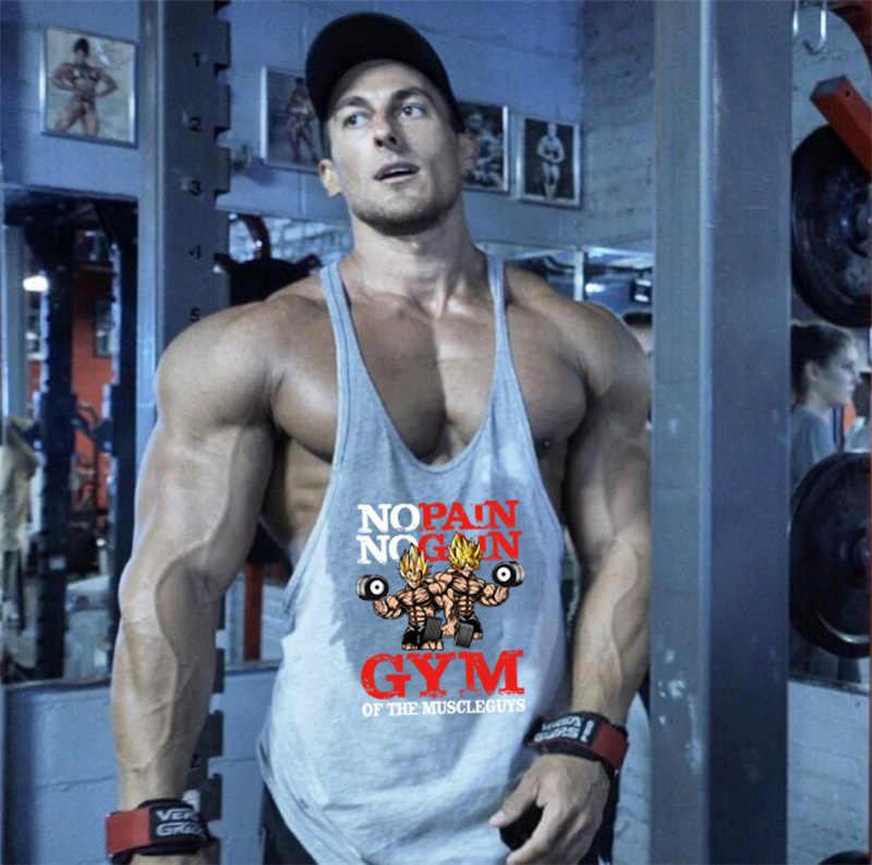 Merek Fashion Latihan Tanpa Lengan Tank Top Pria Katun Gym Rompi Binaraga Singlet Pria Tops Kebugaran Kemeja