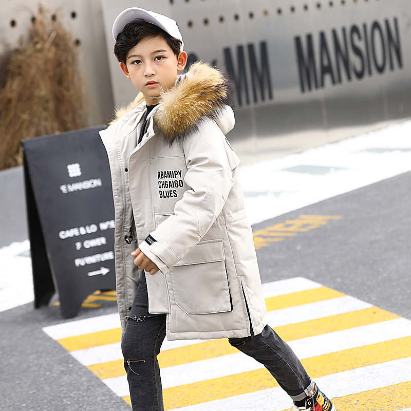 HSSCZL boys duck down jackets 2019 brand new winter thicken outerwear overcoat boy down coat hooded big fur collar kids 8-14Y