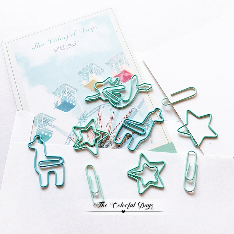 TUTU 20PCS/LOT Star Alpaca Mermaid Paper Light Green Color Funny Kawaii Bookmark Office School Stationery Marking Clips H0459