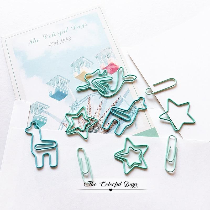 TUTU 20PCS/LOT Star Alpaca Mermaid Paper Light Green Color Funny Kawaii Bookmark Office School Stationery Marking Clips H0459