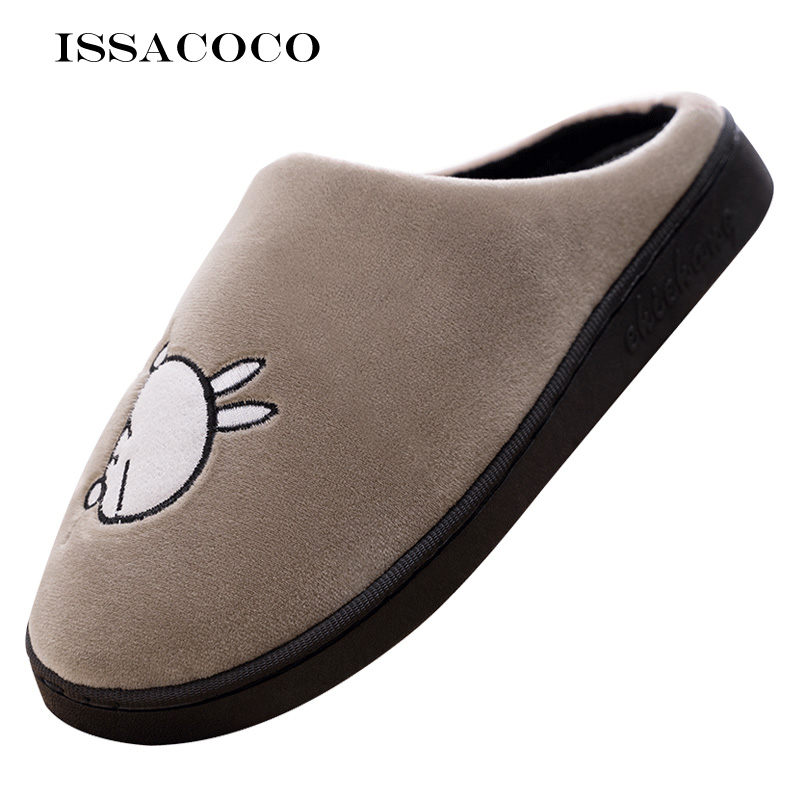 ISSACOCO Men Winter Home Slippers Cartoon Rabbit Shoes Soft Winter Warm House Slippers Indoor Bedroom Lovers Couples Pantuflas