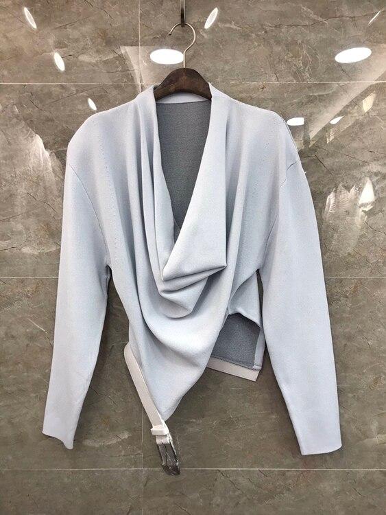 2020 Ранняя осень Новая женская необычная декоративная однотонная универсальная рубашка с длинным рукавом и воротником 818|Блузки и рубашки|   | АлиЭкспресс