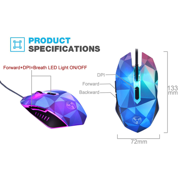 Gaming Mouse 3200 DPI Adjustable Wired LED Computer Mice USB Cable Silent Mouse Diamond Version Gaming Mouse For Laptop PC 3