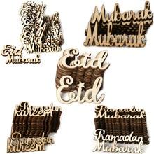 15 Stks/set Eid Mubarak Diy Houten Scène Props Home Decorations Feestartikelen Moslim Eid Mubarak Alfabet Ornament Geschenken