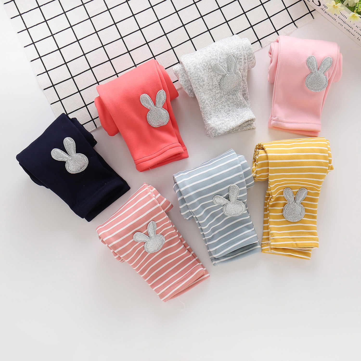 Children's Wear Autumn And Winter Baby Girls Plush Bottom Pants Embroidered Pure Stripe Baby Girls Pants