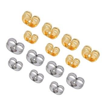 100Pcs/Lot Stainless Steel Earrings Back Stopper Ear Stud Butterfly Earrings For Diy Earrings Stud Pin Caps Jewelry Making titanium black vacuum plated screw back stud earrings 316 l stainless steel no fade no allergy
