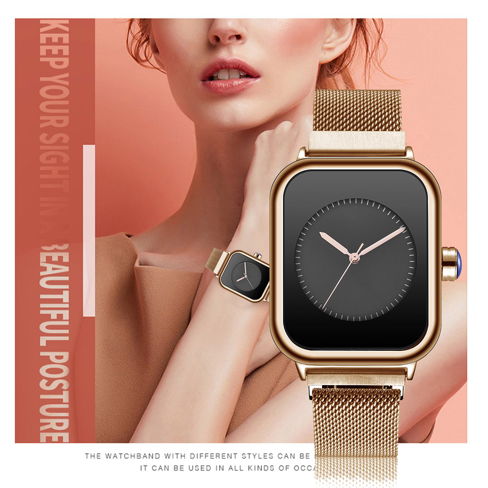 Image 5 - Creative New Women Watches Quartz REBIRTH Square Magnetic Minimalist Ladies Wristwatch Rose Gold Luxury Band Reloj Mujer 2019Womens Watches   -