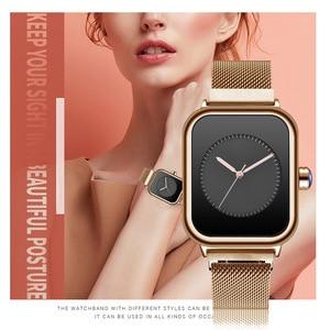 Image 5 - Creative New Women Watches Quartz REBIRTH Square Magnetic Minimalist Ladies Wristwatch Rose Gold Luxury Band Reloj Mujer 2019