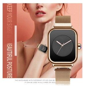 Image 5 - Nuevos relojes creativos de cuarzo para Mujer, Reloj de pulsera cuadrado magnético minimalista para Mujer, Reloj de pulsera de lujo de oro rosa para Mujer 2019