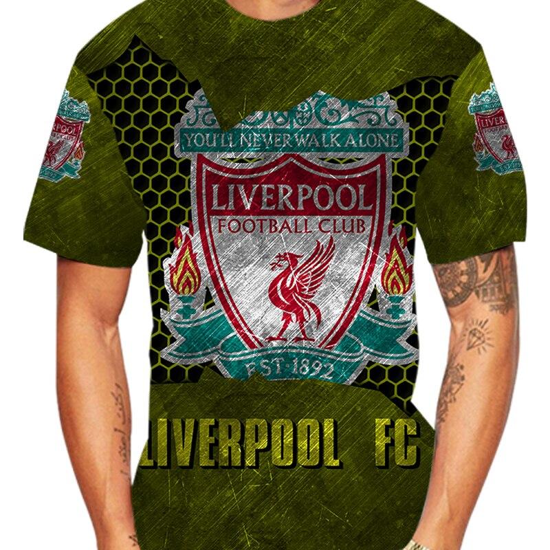 Liverpool Football Club Fan Football Printed Retro T Shirt Shield Sports Gift