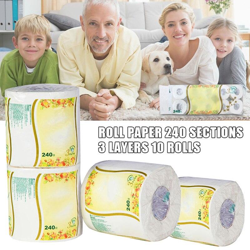 10 Rolls Toilet Paper Tissue 3 Layer White Soft Skin-Friendly For Bathroom Home TT@88