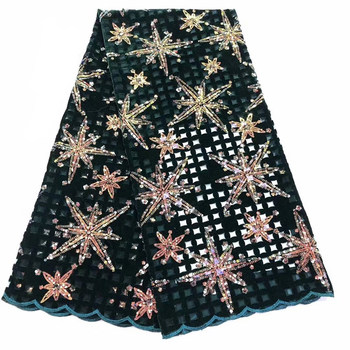 Velvet Lace Fabric for Dresses Latest Nigerian French Tulle Lace with Sequin High Quality African Sequins Lace Fabri