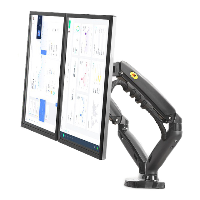 "2019 New NB F160 Gas Spring 360 Degree Desktop 17"" 27"" Dual Monitor Holder Arm Full Motion Monitor Mount Bracket Load 2 9kg each"