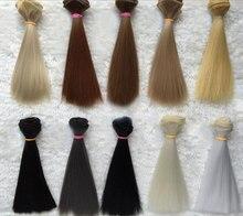 2019 New Doll Wig Hair Pure Multicolour 15cm*100CM 1PC 1/3 1/4 Straight Wig Hair for BJD DIY Accessories Kids Toys Khaki Black