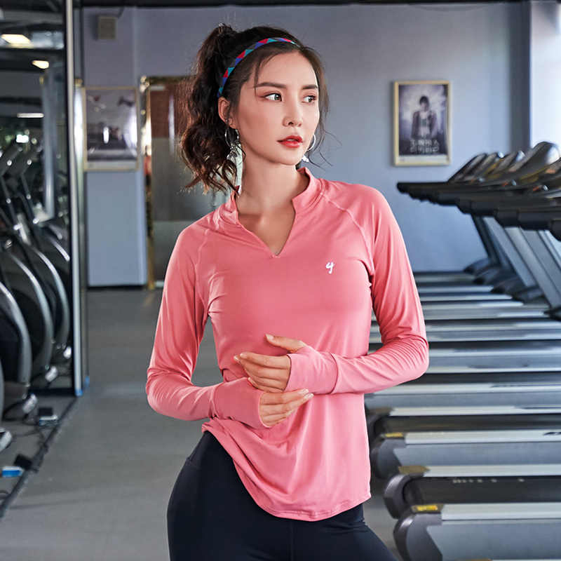 Gym frauen Sport Shirts Quick Dry Lauf workout T-shirt langarm Fitness Kleidung Tees & Tops sportswear