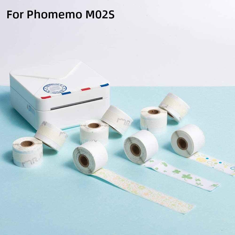 Phomemo, 9 rollos de pegatinas térmicas con personajes de Papel negro de 15mm x 3,5 m, 3 colores, papel de etiquetas para miniimpresora fotográfica Phomemo M02S