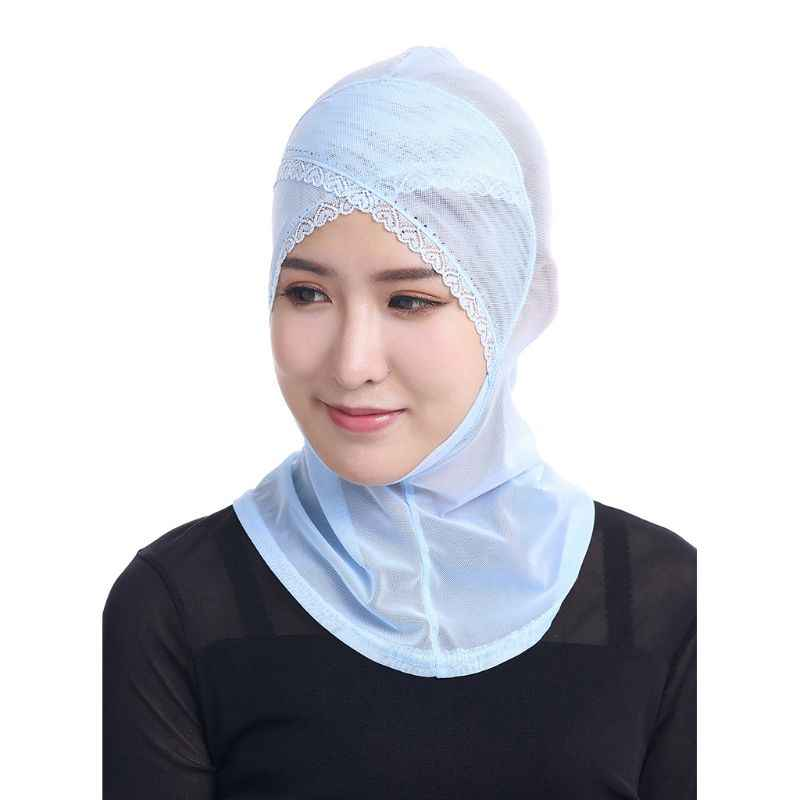 Wanita Muslim Jilbab Topi Net Penutup Kepala Dahi Elastis Sorban Topi Renda Rim Berlian Imitasi Islam Kepala Syal Bungkus pxpb