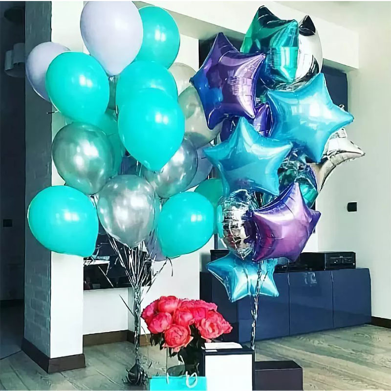 24pcs/lot Tiffany blue silver color latex balloons for <font><b>birthday</b></font> party <font><b>decoration</b></font> adult 18th 19th <font><b>20th</b></font> years old <font><b>birthday</b></font> decor image