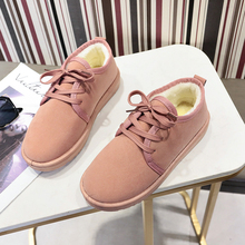 2019 Winter Shoes Warm Platform Woman Snow Boots Plush Female Casual Sneakers Faux Suede Leather Flock
