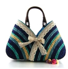 Women rattan straw Bags Summer Fashion Bow Rainbow Stripe Straw weaving Beach Handbags Famous Brands Shoulder