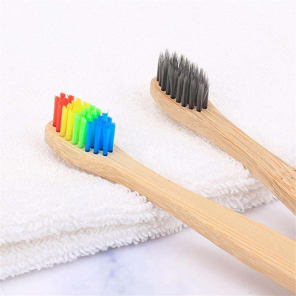 5pcs Child Natural Eco Friendly Soft Bristles rainbow Bamboo Handle Toothbrush Set Wooden Toothbrush Dental care gift Packaging image
