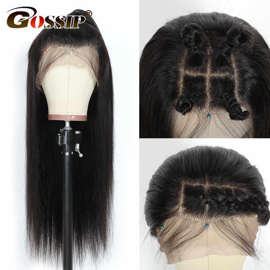 Pelucas de cabello humano con frente de encaje 13x4, línea de pelo recta Pre desplumado, cabello de bebé Gossip 150% de densidad, pelucas con frente de encaje Remy Malayo