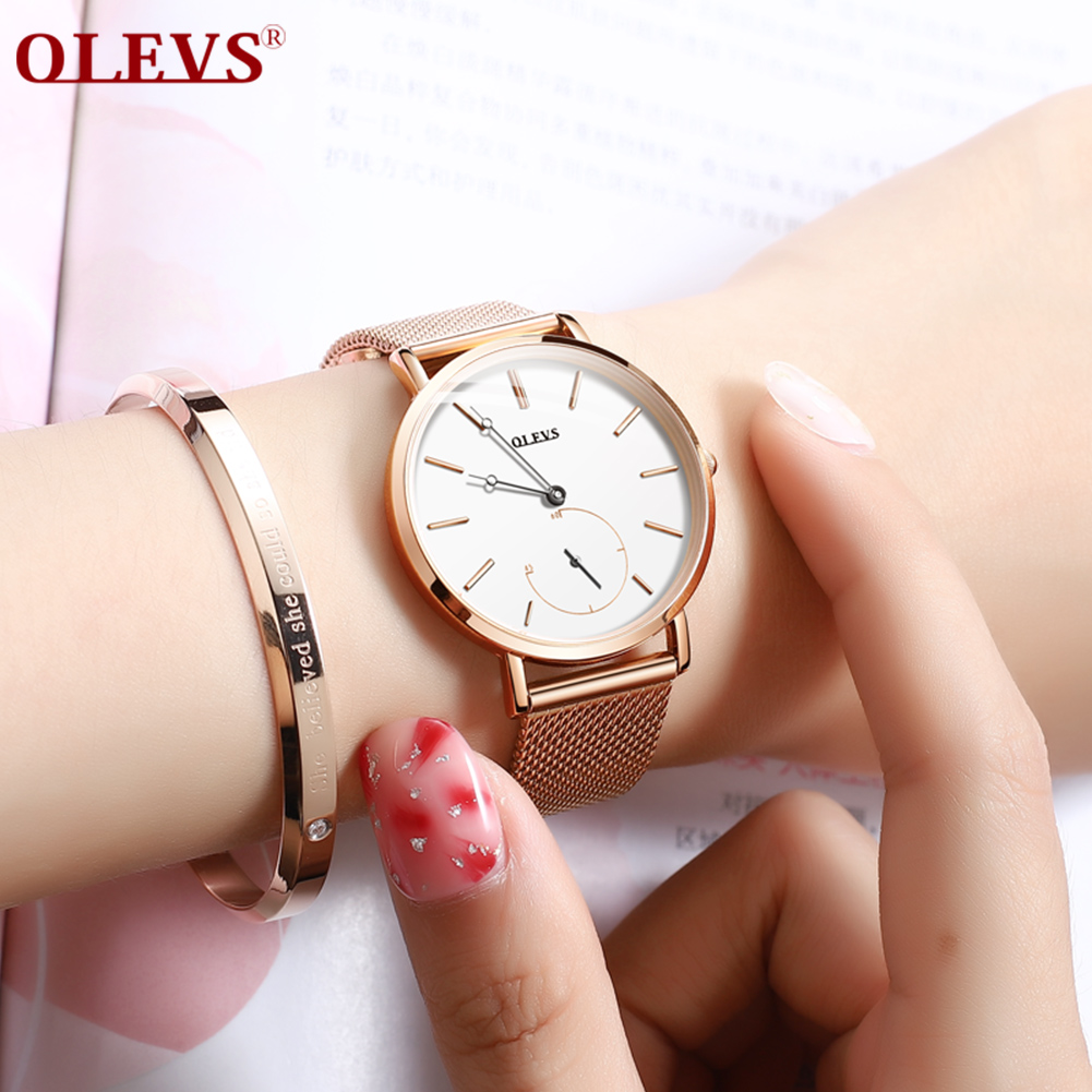 OLEVS Watch Women Ultra thin luxury Independent second hand waterproof quartz watches Stainless steel sport Ladies wrist watch in Women 39 s Watches from Watches